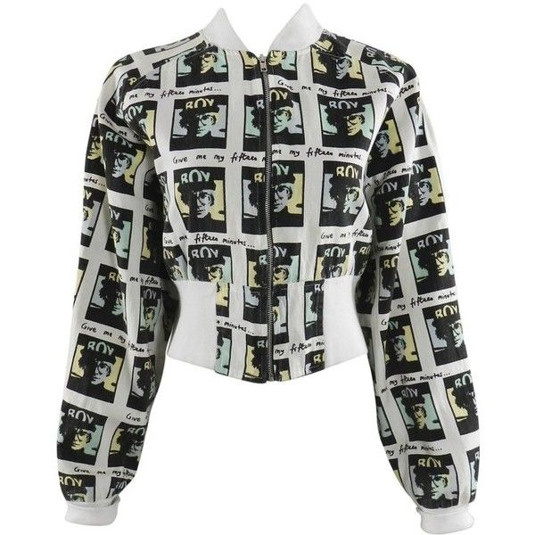 Preowned Andy Warhol Vintage Boy London Bomber Jacket 1980s ($1,299) ❤ liked on Polyvore featuring outerwear, jackets, cropped jackets, grey, cropped jacket, pastel jacket, pastel bomber jacket, gray bomber jacket and grey jacket