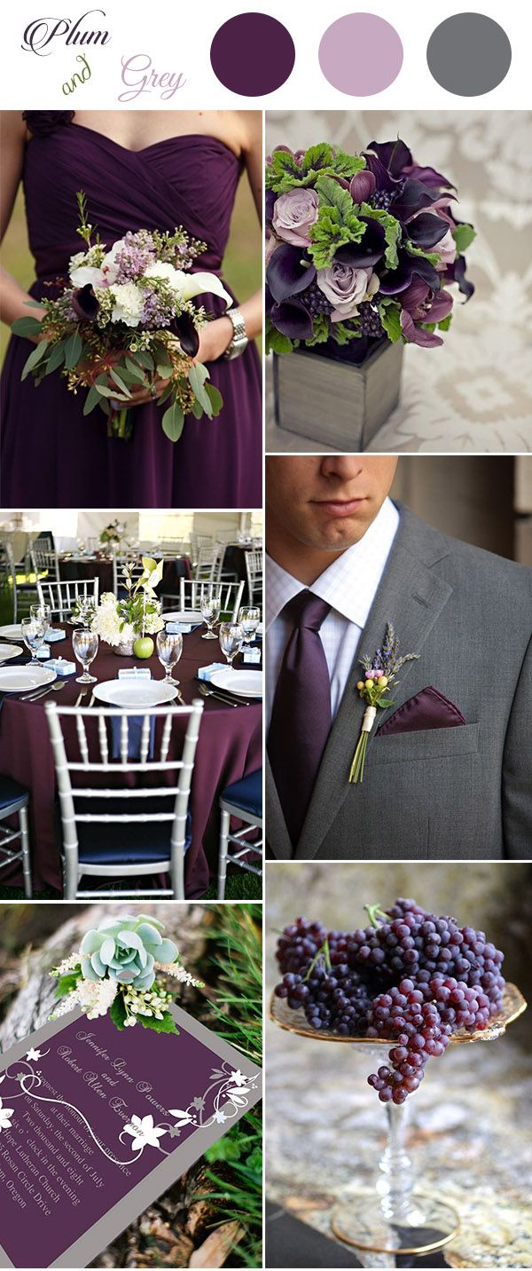 plum,greenery and grey wedding color palette ideas