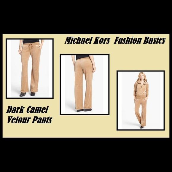 """NWT, Michael Kors velour like lounge pants medium New in original packaging with tag, Michael Kors velour- feel lounge pants in The color """"dark camel"""". Style number MH431559T2. Size medium! Michael Michael Kors fashion basics! , feature side pockets and Michael Kors gold tone plaque on the front side! This is an every girl must have! MICHAEL Michael Kors Pants"""