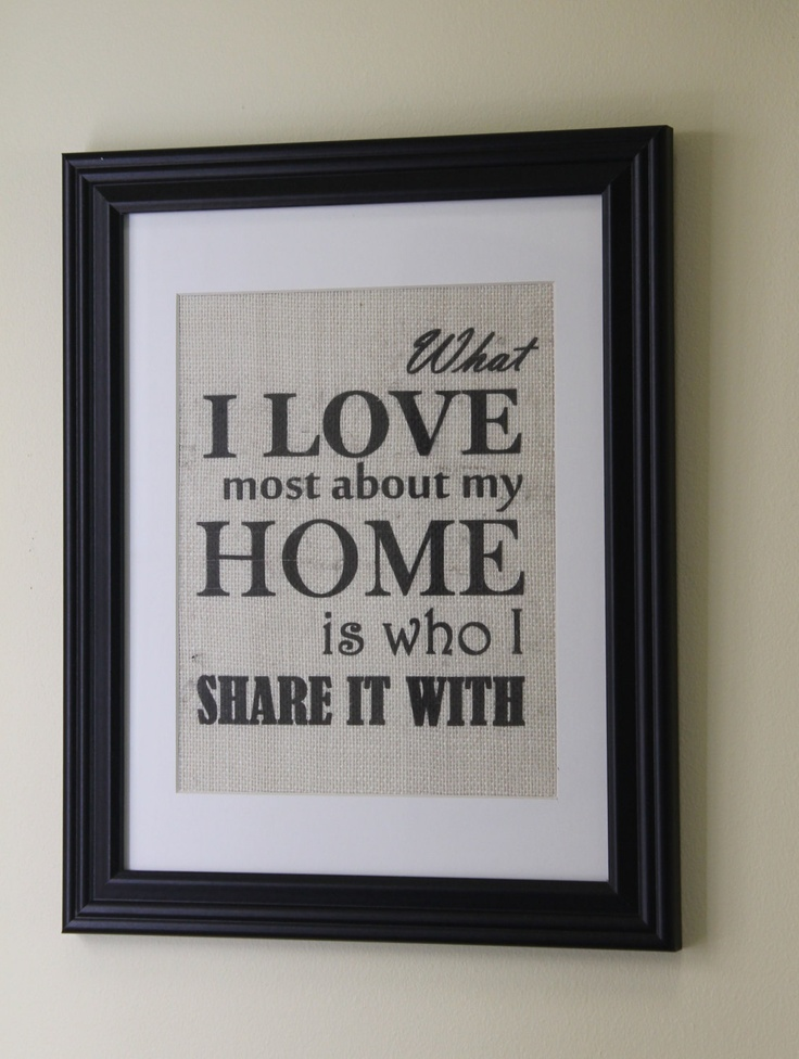 What I Love Most About My Home Framed Burlap Wall Print