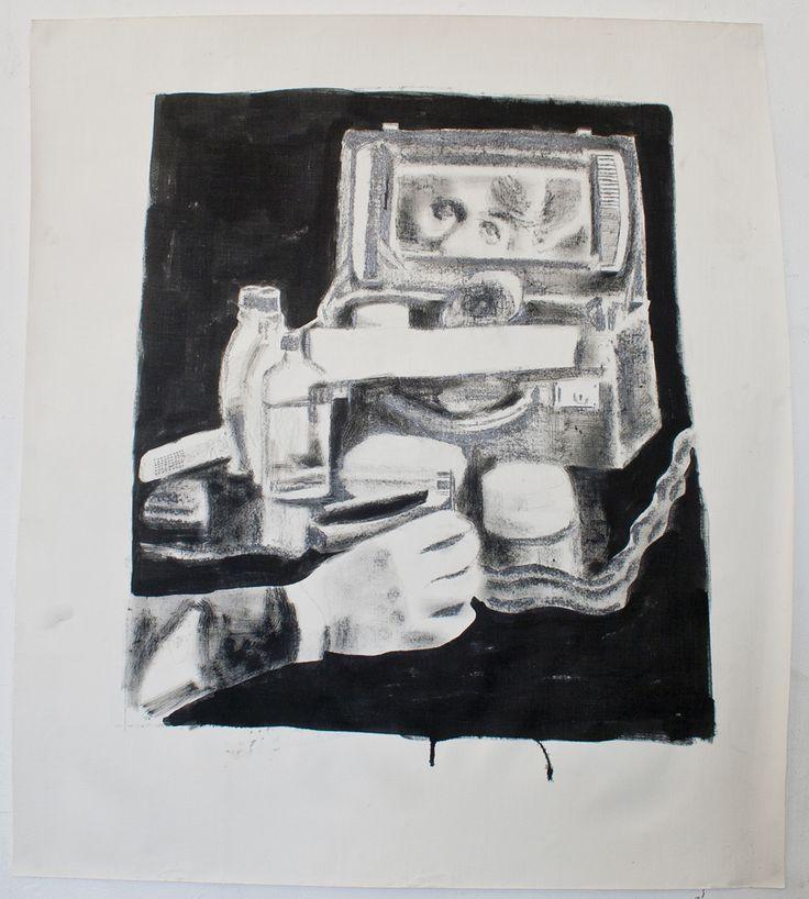 "Heidi Wigmore, ""Vanity Case"". 2010. Graphite, Indian ink on linen paper."