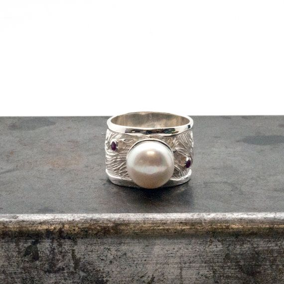 Pearl Ring Big Sterling Silver Wide Band Pearl by SunSanJewelry