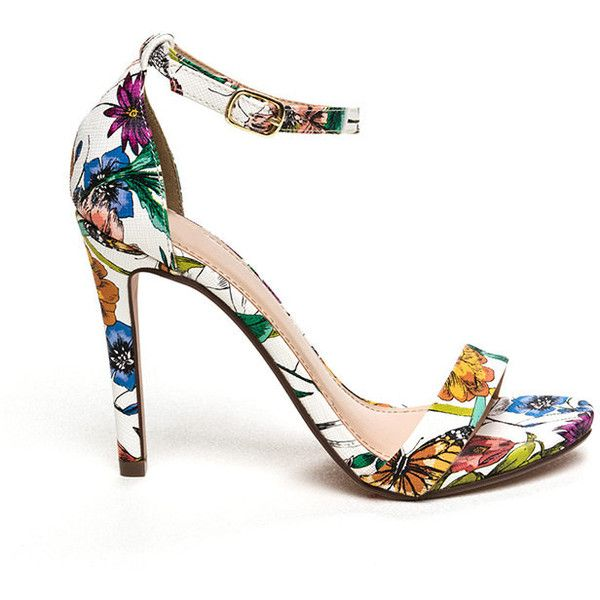 Let's Grow Floral Strappy Heels WHITE ($23) ❤ liked on Polyvore featuring shoes, sandals, white, multi color sandals, white stilettos, white high heel sandals, floral sandals and white high heel shoes