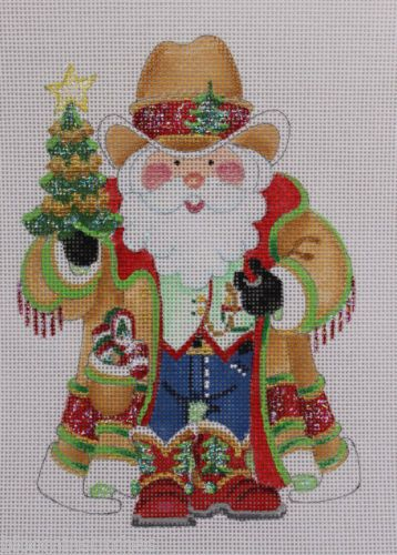 Strictly Christmas Cowboy Western Santa Claus Hand Painted Needlepoint Canvas