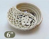 "Crochet Basket Pattern, Yin Yang Jewelry Dish 6"", Photo Tutorial. Jewelry Organizer, Crochet Christmas gift for her."