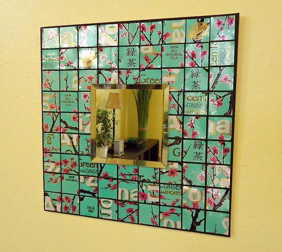 Recyclé Soda Cannettes Mosaïque Miroir menthe fabriqués à partir de boîtes de thé vert