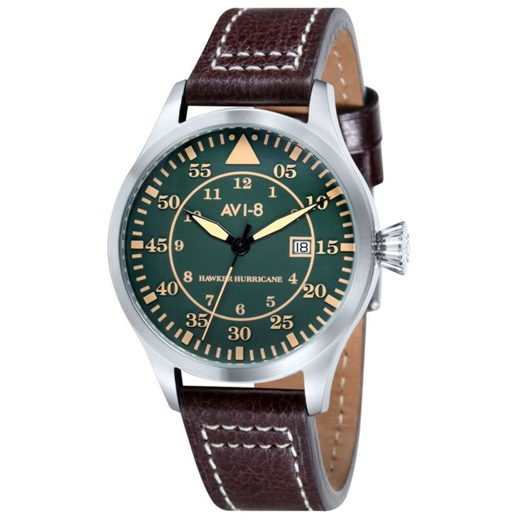 AVI-8 Hawker Hurricane AV-4012-03 Orologio da Polso Uomo Militare al Quarzo 50m #avi-8 #military #hawker #hurricane #watches #men #wristwatch #leather