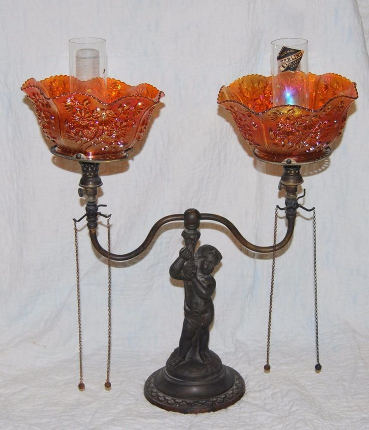 Antique Cast Child Gas Candelabra Lamp Light Wellsbach  Kato Base Imperial Glass #Victorian #KatoWellsbach