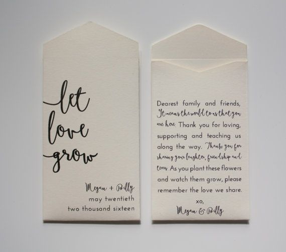 Let Love Grow Cream Personalized Seed Packet Wedding Favors - Many Colors Available