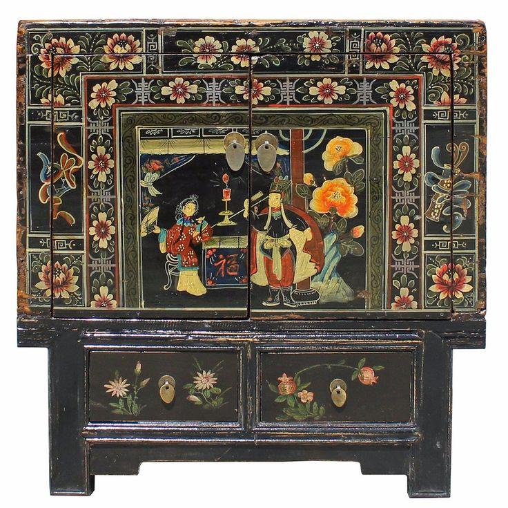 Chinese Vintage Black Oriental People Scenery Side Table Cabinet cs3183S