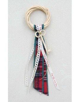 Γούρι Willow Wreath Key & Red Check Ribbon