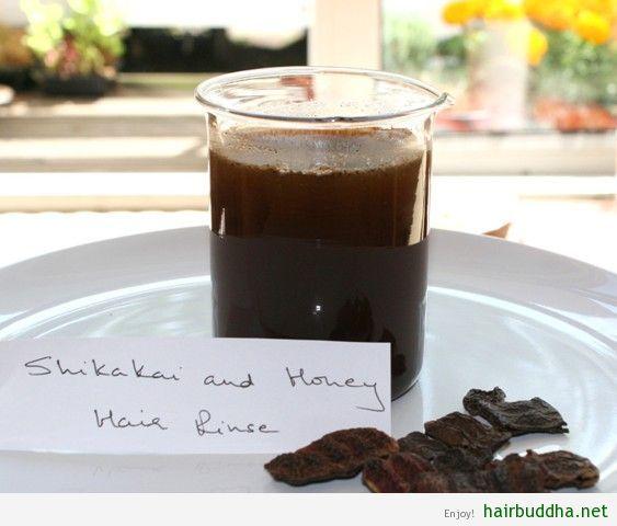 Shikakai & Honey Hair Rinse - 1 tablespoon shikakai powder, 2 teaspoons honey or aloe vera juice, 1 teaspoon olive or almond oil (optional), 1 cup filtered or distilled water