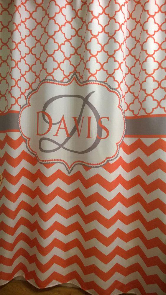 Shower Curtain Chevron Heavy Fabric by SwirledPeasDesigns on Etsy