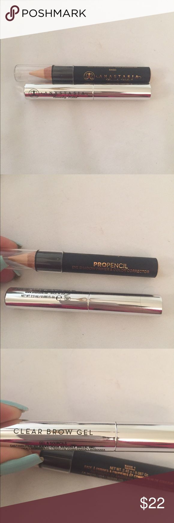 New Anastasia BeverlyHills Propencil Clear BrowGel New Anastasia Beverly Hills Pro Pencil in base 1. Use as a Eyeshadow base, color corrector and brow bone highlighter. Comes with clear brow gel. New without box. Anastasia Beverly Hills Makeup