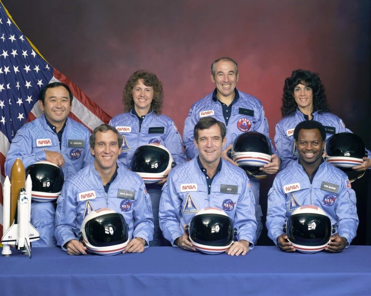 Space Shuttle Challenger disaster occurred on January 28, 1986, when Space Shuttle Challenger (mission STS-51-L) broke apart 73 seconds into its flight, leading to the deaths of its seven crew members: (front row) Michael J. Smith, Dick Scobee, Ronald McNair; (back row) Ellison Onizuka, Christa McAuliffe, Gregory Jarvis, Judith Resnik.