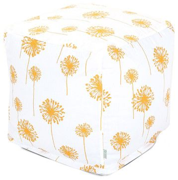 Outdoor Yellow Dandelion Small Cube modern ottomans and cubes
