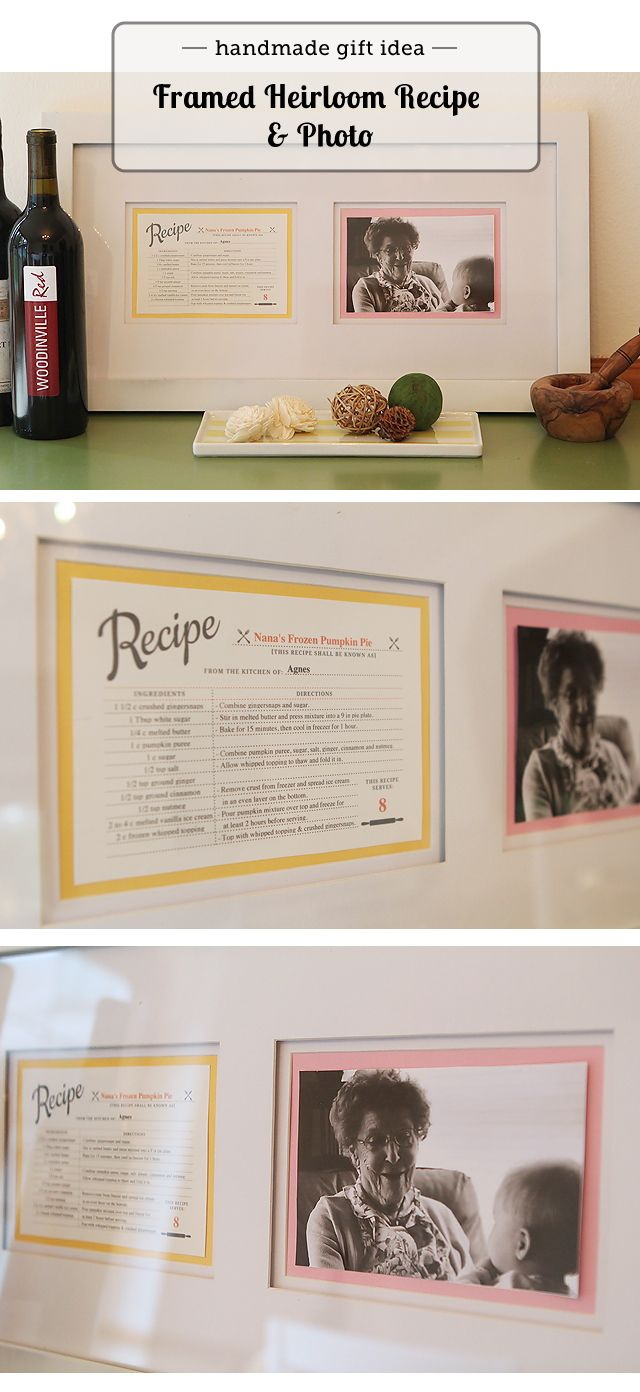 Must make for Mother's Day! Framed photo of grandma with her trademark recipe - post has link for editable recipe card.