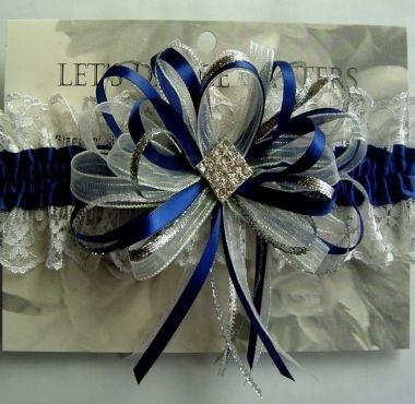 Navy Blue Diamond Prom Garter