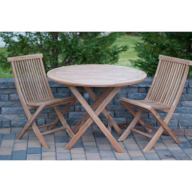 Solid Teak 3 piece Round Bistro Sets Overstock com Shopping Big Discounts   1000 images about. Allintitle bedroom Accent Chairs