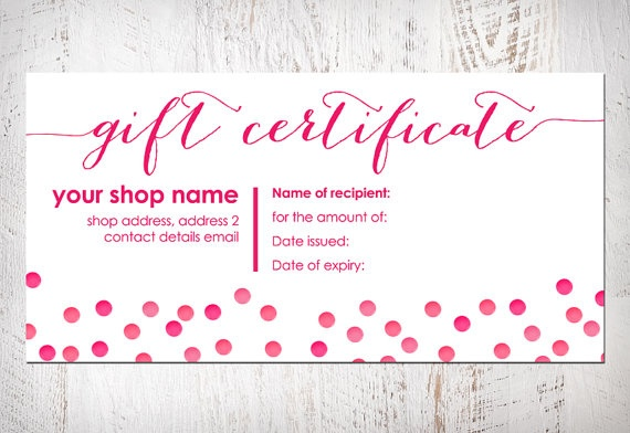 gift certificate bow card printable item by ...
