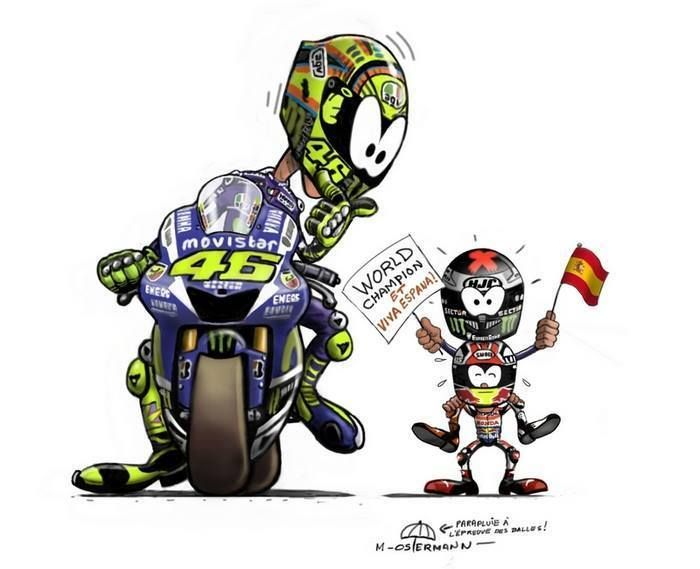final da Moto GP em Cartoons