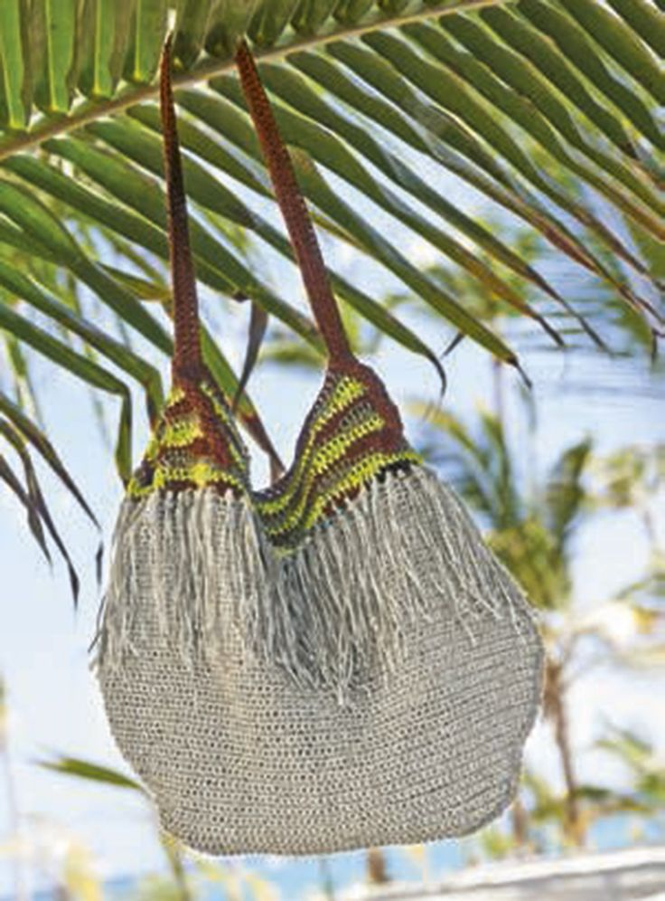 Lana Grossa Связанная крючком сумка-мешок Divino - FILATI Handstrick No. 56 - Модель 15 | Магазин FILATI Lana Grossa-Store.ru