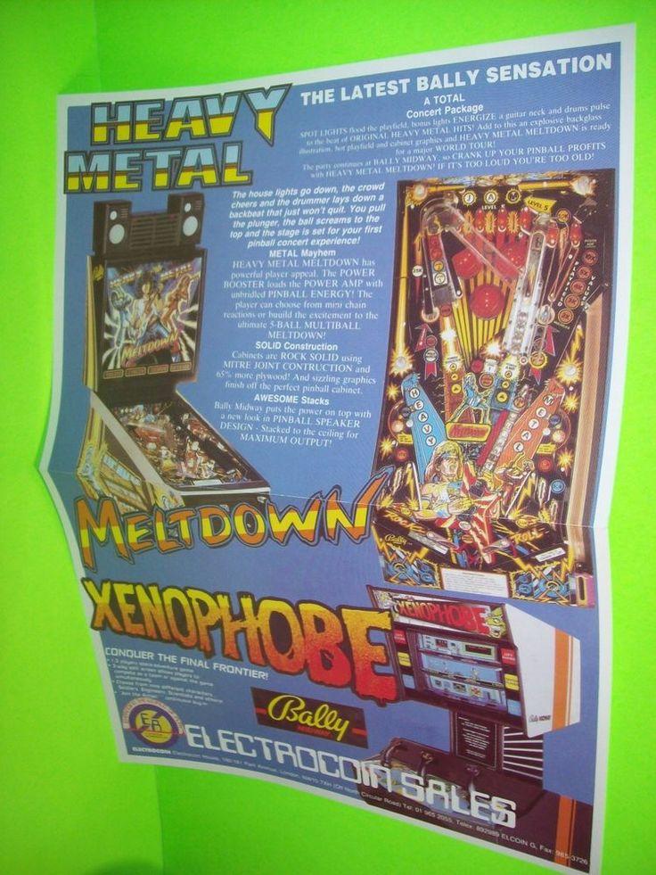 Bally HEAVY METAL Meltdown Xenophobe Pinball Machine Poster Flyer Electrocoin UK #BallyElectrocoinSales
