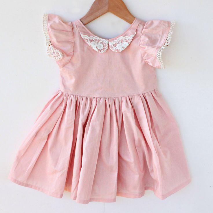 Dolly Henry Audrey Dress - www.dollyhenry.com #vintagedress #handmadegirlsdress #girlsdress #partydress #pink #lace #pompoms