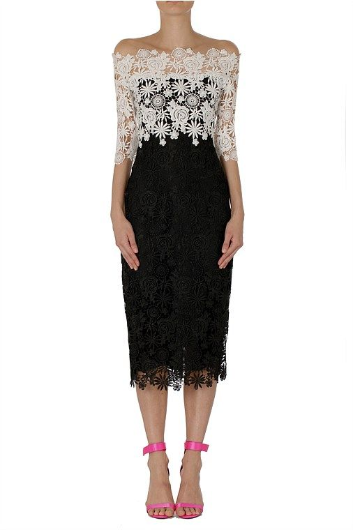Short dresses - Onyx Pearl Floral Lace Rose Dress