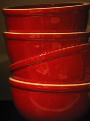 Cheery red country style ceramic kitchen cooking bowls...