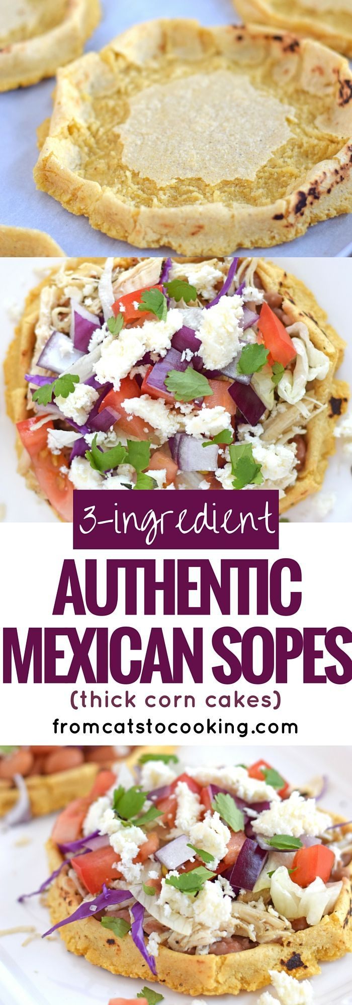 3-Ingredient Authentic Mexican Sopes are a thick corn cake that you can top with any ingredients your little tummy desires. I like to think of them as a thick corn tortilla boat because they're made exactly like a corn tortilla except the edges are pinched up to create a little well in the middle. They're gluten free, vegetarian, vegan and dairy free. They also make a great appetizer or have a couple for dinner. // fromcatstocooking.com