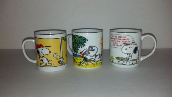 Vintage set of 3 Snoopy Coffee Mugs Charlie Brown Cups Retro Kitchen Collector