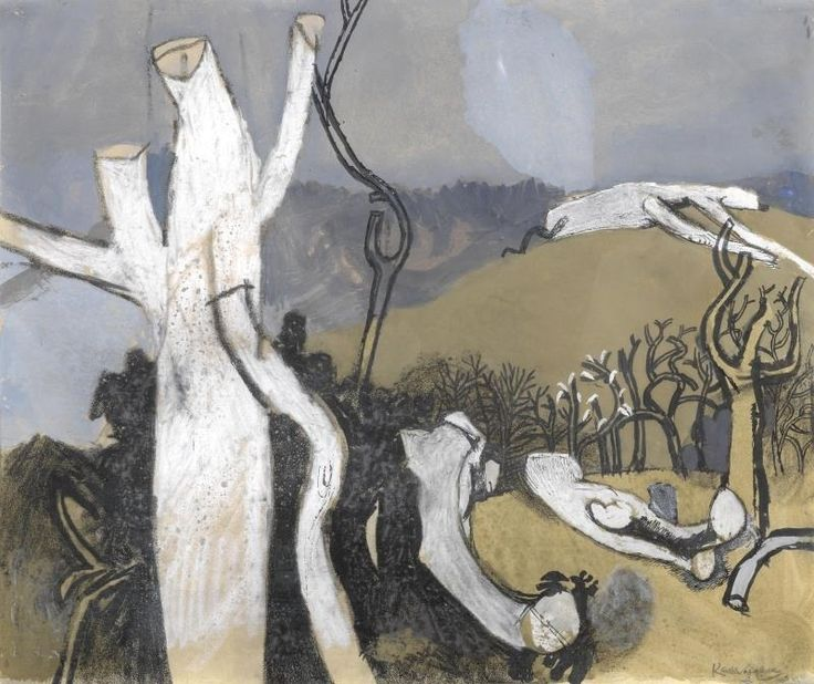 """thunderstruck9: """"Keith Vaughan (British, 1912-1977), Winter Landscape, c.1958. Gouache, wash, pen and ink, pastel and wax crayon, 39.4 x 33 cm. """""""