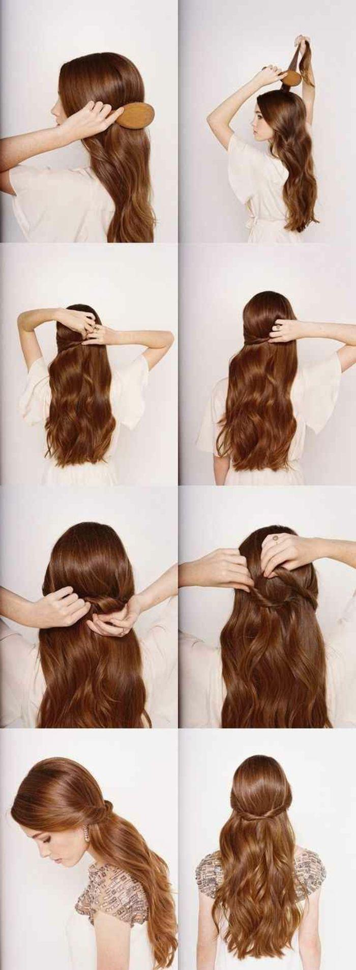 tuto coiffure cheveux longs marrons