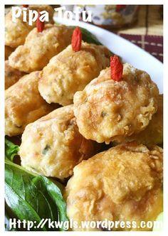 Chinese Fried Tofu Shrimp Balls–Pipa Tofu (琵琶豆腐)
