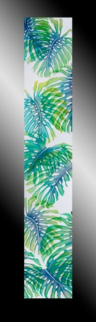 Monstera Leaf Sidelight-Front Monstera Leaf. A modern sidelight adjacent the main entry of a condominium in Hawaii invites examination from either side. This laminated piece plays with positive and negative space. It is remarkably simple, yet while nonetheless invoking current-like rays of light. It is 79 x 13¾ x ½ inches. (2014)