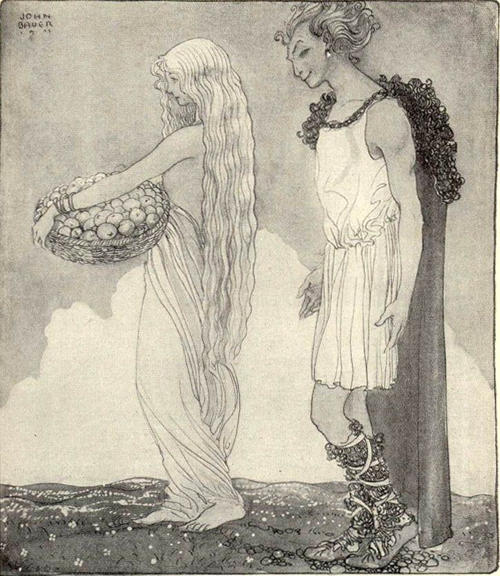 More Norse myths illustrated by John Bauer -- Loki and Idunn.