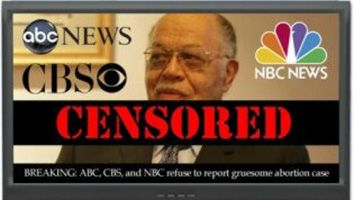A new report from the Media Research Center shows the three network television stations are still censoring any coverage of the trial of abortion practitioner Kermit Gosnell... 04/22/13 http://www.lifenews.com/2013/04/22/new-report-networks-still-censoring-gosnell-murder-trial/