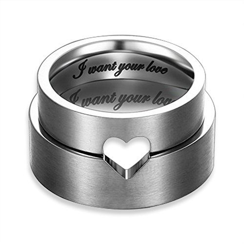 """I Want Your Love"" Hollow Matching Heart Flat Promise Rings for Couples, Stainless Steel Mens Womens Wedding Bands Engagement Matching Rings Holiday Birthday Gift (6mm, 8mm) - http://www.spiritualgemstonejewelry.com/i-want-your-love-hollow-matching-heart-flat-promise-rings-for-couples-stainless-steel-mens-womens-wedding-bands-engagement-matching-rings-holiday-birthday-gift-6mm-8mm/"