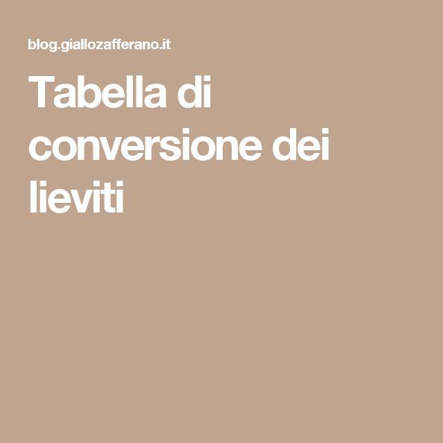 Tabella di conversione dei lieviti