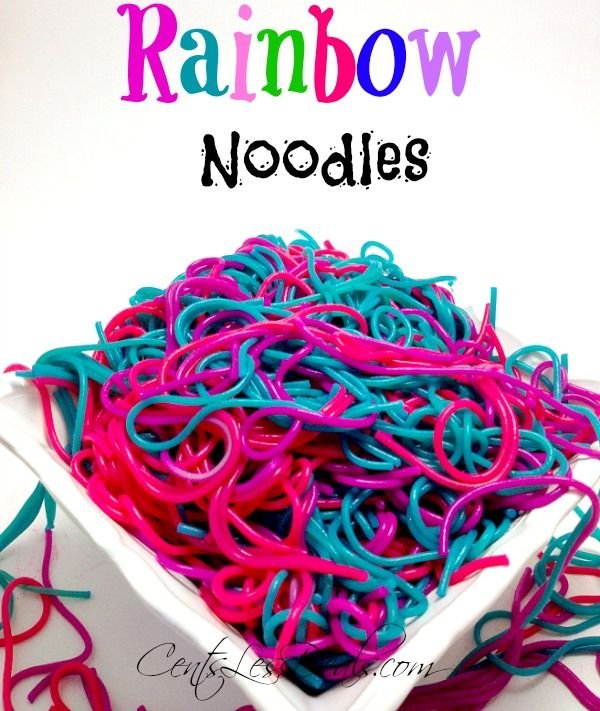 rainbow noodles for kids! awesome idea!