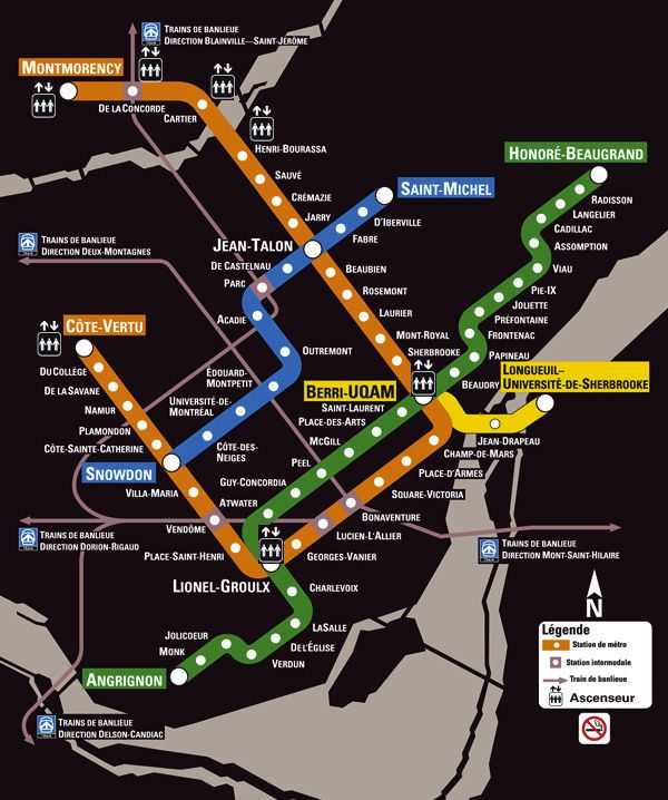 Montreal's black beauty: the diagram on the black background looks elegant, but if you want to print it will probably hate to waste that much ink. | #metro #montreal