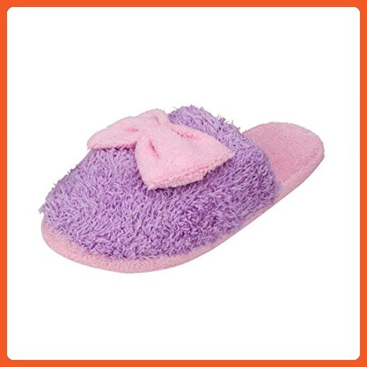 Sagton Women Soft Warm Bowknot Home Slipper Plush Candy Color slipper (US:7.0, Purple) - Slippers for women (*Amazon Partner-Link)
