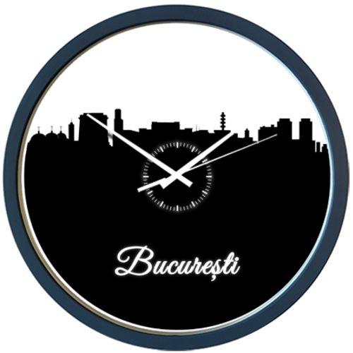 Ceas Bucuresti    Ceas de perete cu siluete ale cladirilor importante din Bucuresti (Arcul de Triumf, Palatul Parlamentului, Televiziunea Romana, Turnurile Gemene de la Romexpo, Mitropolia si multe altele.
