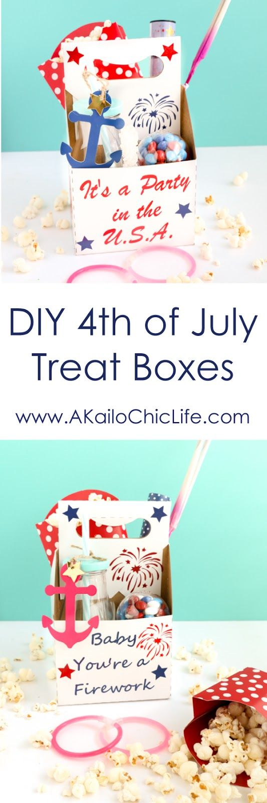 4th of July Kids treat boxes to take while watching fireworks, DIY picnic baskets, crafts, vinyl, adhesive vinyl, treat boxes, kid summer fun, silhouette cameo