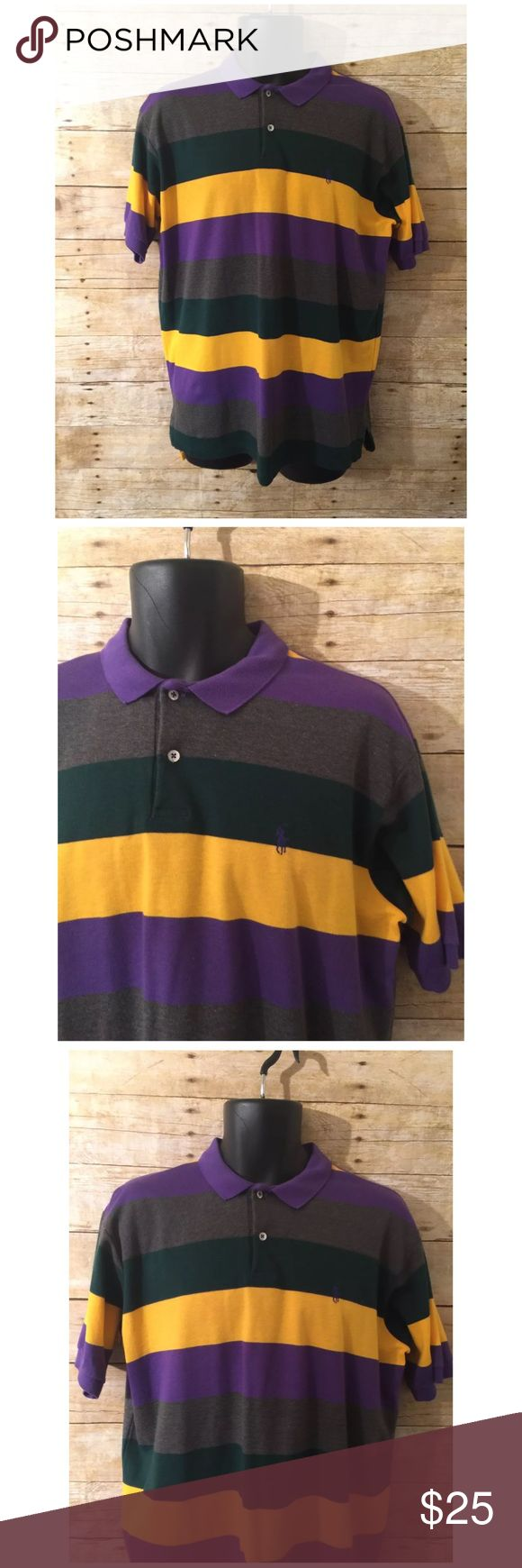 Ralph Lauren Purple & Yellow Striped Polo Shirt Polo shirt is in good condition, no stains or flaws   Size: X-Large Polo by Ralph Lauren Shirts Polos