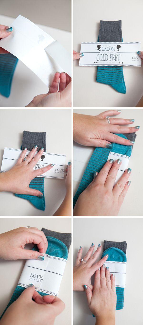 Wedding #DIY ~ a gift for your groom... 'cold feet' socks, so easy!