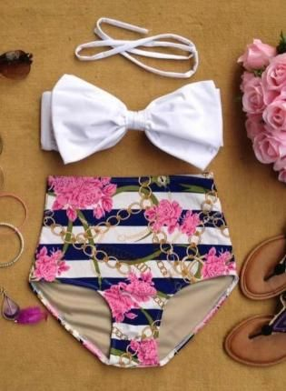 Chained Ecstacy High Waist Bikini, Swimsuit, Chained Ecstacy High Waist Bikini, retro high waist bikini~ don't tempt me. This is so darn cute and would most likely look good on me cause I love high waisted things on me