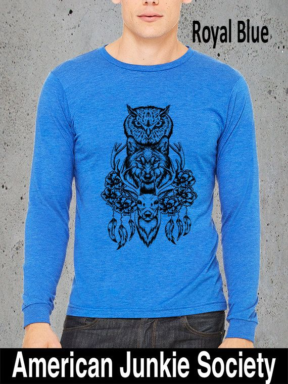 224 best mens clothing americanjunkiesociety images on pinterest hiking shirtwolf shirt deer owl wolf shirt long sleeve t shirtmens graphic teeboyfriend giftnative americanclothing mens shirts publicscrutiny Gallery