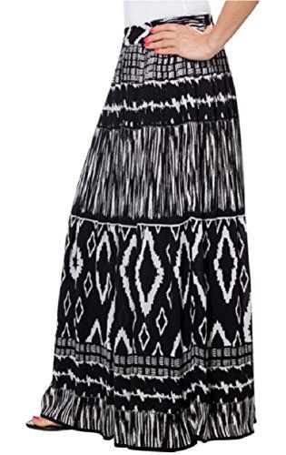 Chaudry Ladies' Pull-on Skirt-Black  White Aztec, Medium   Special Offer: $5.10      455 Reviews Womens Chaudry Peasant Gypsy Boho Pull-on Skirt, Long, Medium